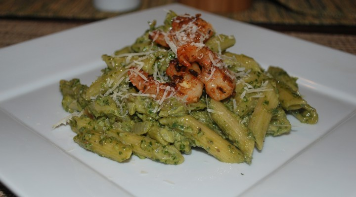 Creamy Pesto Pasta with Shrimp